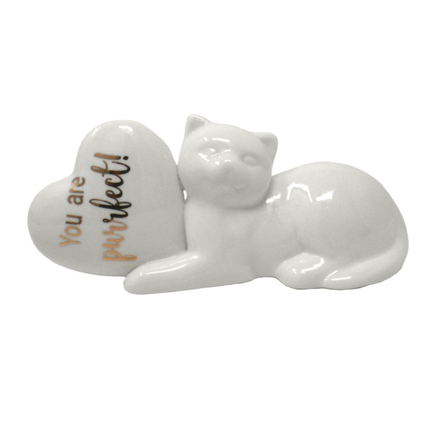Ceramic Cat with Heart Figurine - You are purrfect
