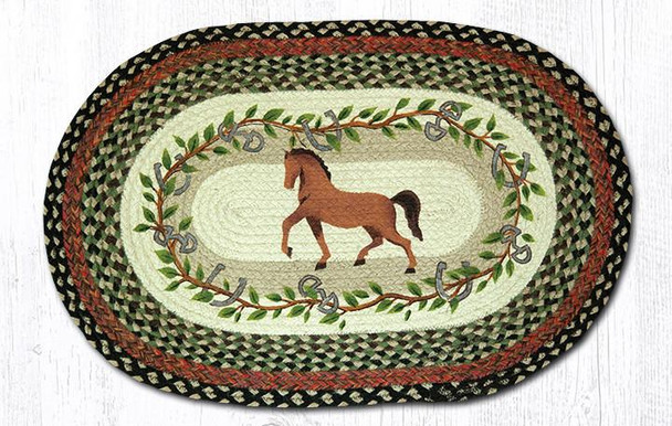 Horse with Oak Leaves 20x30 Hand Printed Oval Braided Floor Rug OP-427