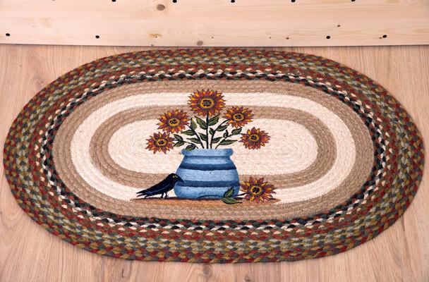 Sunflowers in Crock 20x30 Hand Printed Oval Braided Floor Rug OP-300