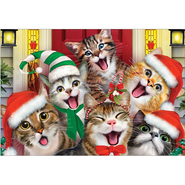 Tree-Free Greetings - Cat Selfies Christmas Cards and Envelopes - 5 x 7 Inch Blank Cards - Set of 10