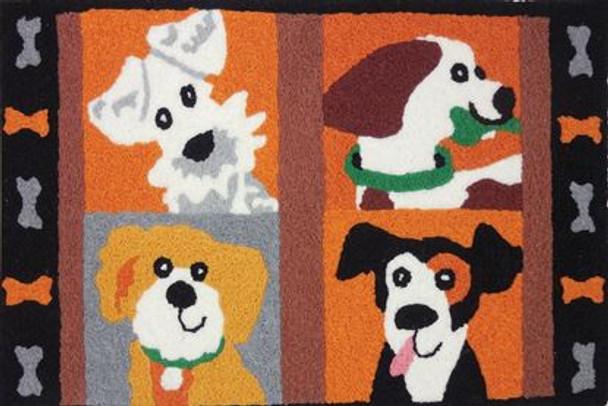 Four Friendly Pups - 21 x 33 - Washable Floor Rug JB-SFG001