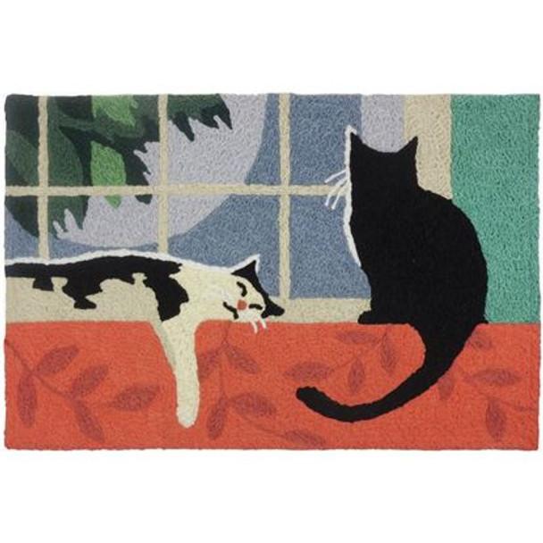 Moonlight Vigil Cats - 21 x 33 - Washable Floor Rug JB-LFR013