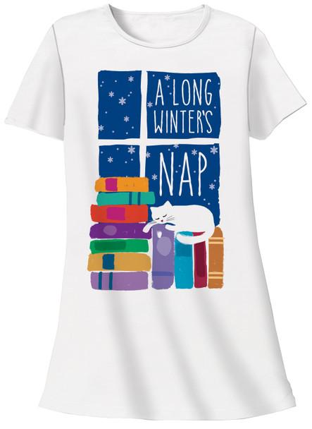 Cat Theme Sleep Shirt Pajamas - A Long Winters Nap - 612T