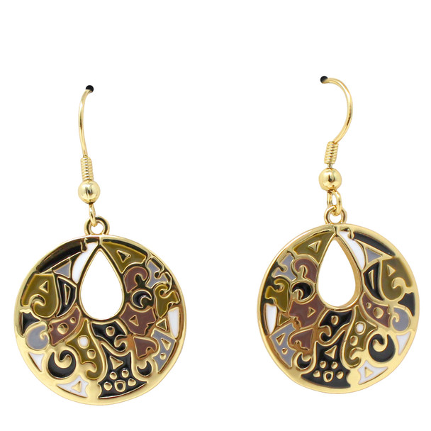 Harmony Laurel Burch Earrings Black Cream Gold 6025A
