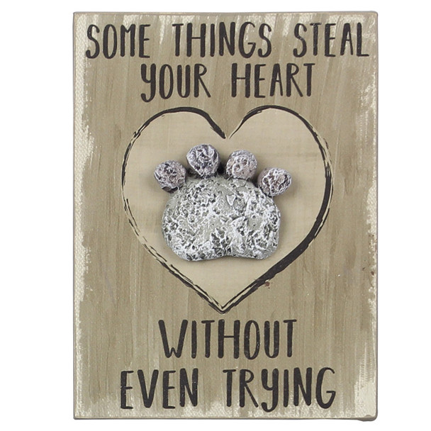 Pet Wood Pebble Art Sign - Some things steal your heart - 18174B