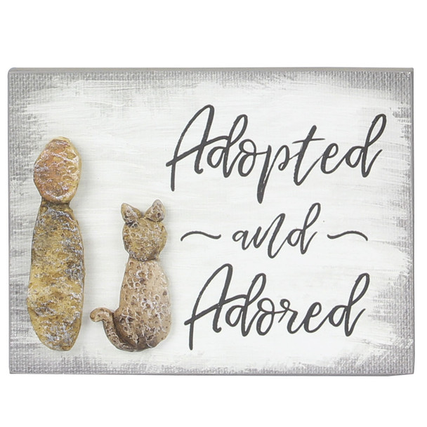 Cat Wood Pebble Art Sign - Adopted and Adored