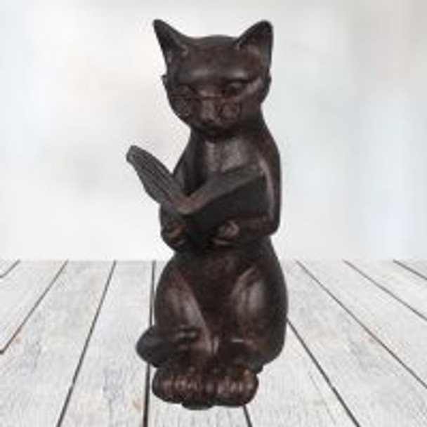 Small Cat Reading Figurine - 10619