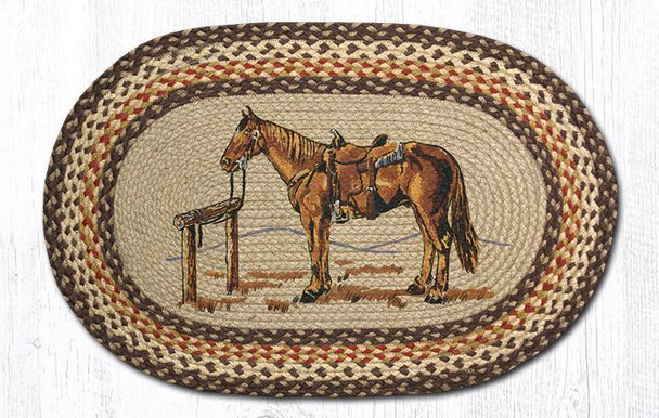 Saddle Horse 20x30 Hand Printed Oval Braided Floor Rug OP-129