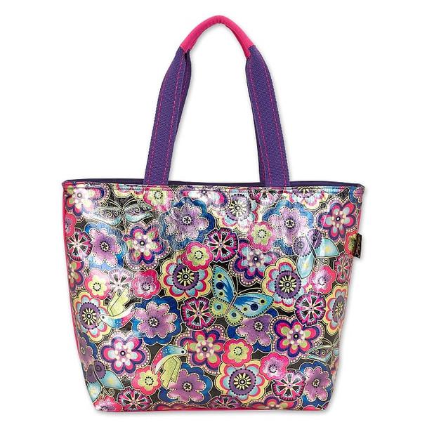 Laurel Burch Foil Purple Multi Floral 20x15 Shoulder Tote – LB6640