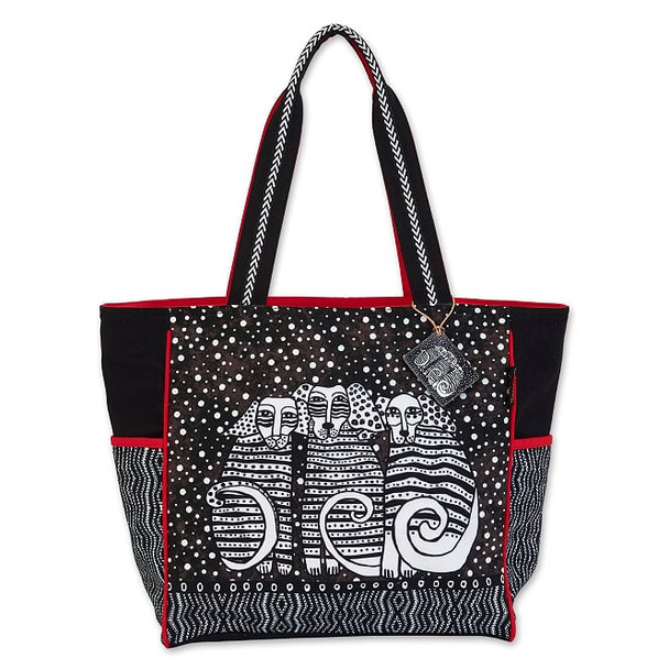 Laurel Burch Black and White Dogs and Dots 21x13 Shoulder Tote – LB7081