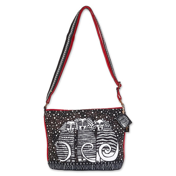 Laurel Burch Black and White Dog and Dots 11x8 E/W Crossbody Tote – LB7082