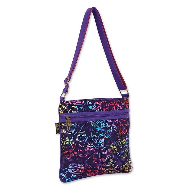 Laurel Burch Rainbow Feline on Black 11x11 Crossbody Tote – LB8050C