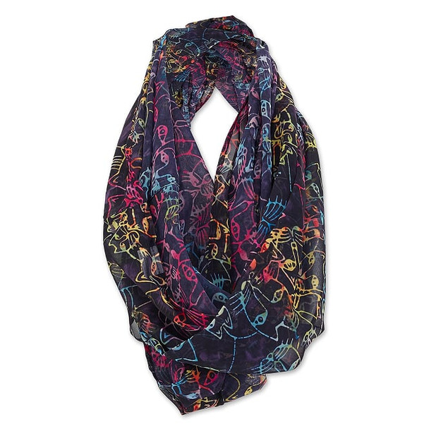Laurel Burch Infinity Scarf Rainbow Feline on Black – LBI221
