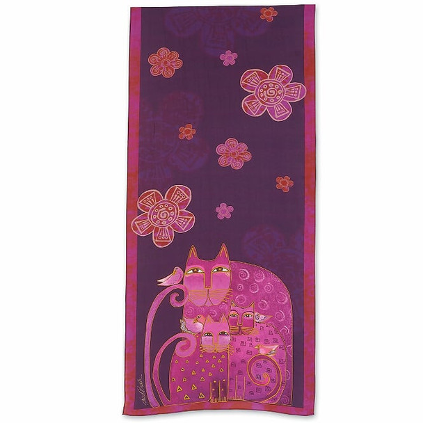 Laurel Burch Magenta Cats with Butterflies Scarf – Modal and Silk – LBS220
