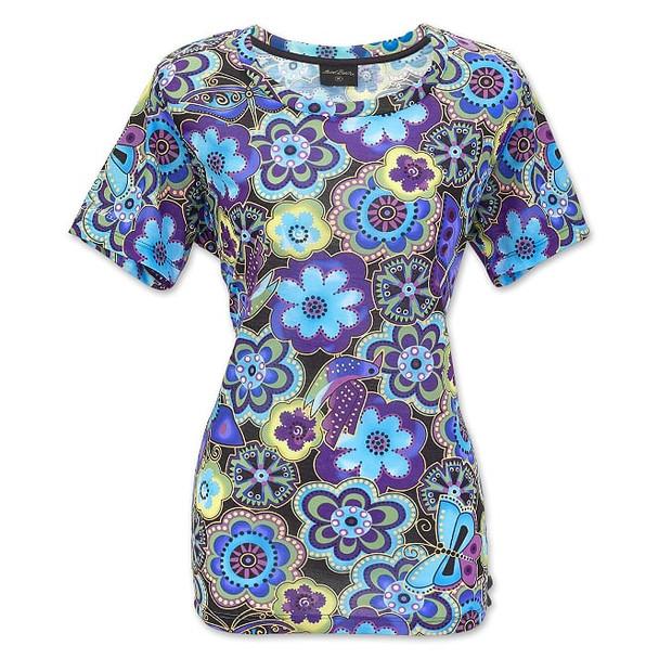Laurel Burch Florals and Butterfly Short Sleeve Tee Shirt - LBT062