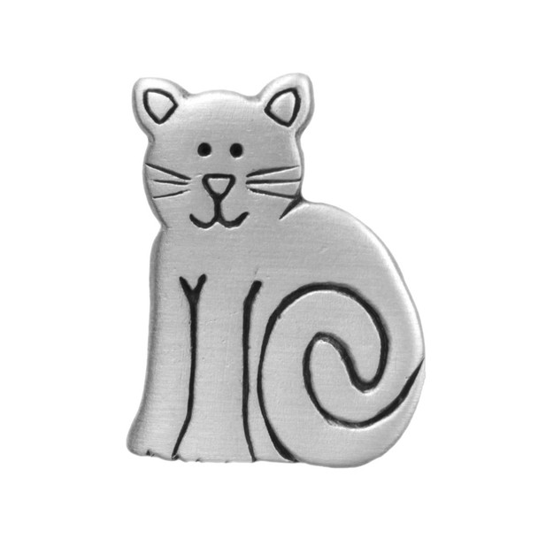 Cat Sitting Pewter Pin - 2541CP