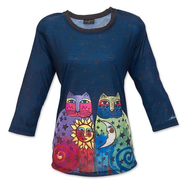 Laurel Burch Celestial Felines ¾ Sleeve Tee Shirt – LBT067