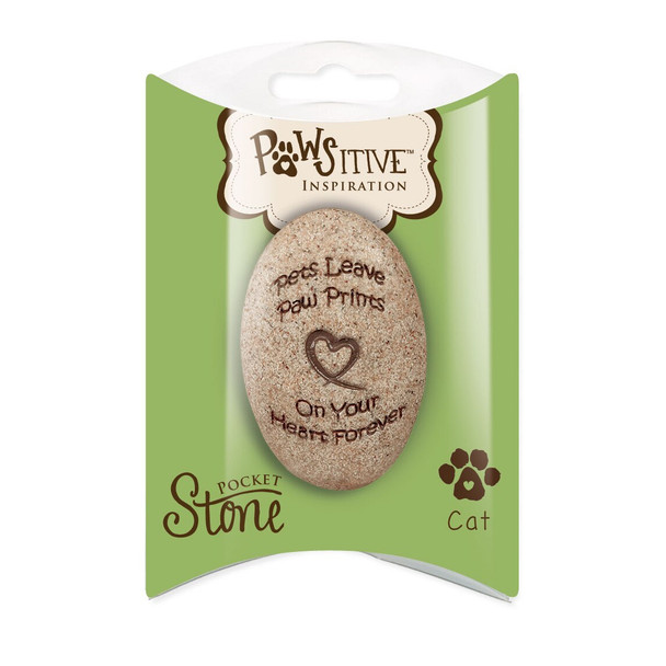 CAT Memorial Pocket Stone Paw Prints on My Heart 49720C