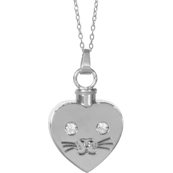 Beloved Cat Face Keepsake Pendant Urn Memorial Necklace 46506