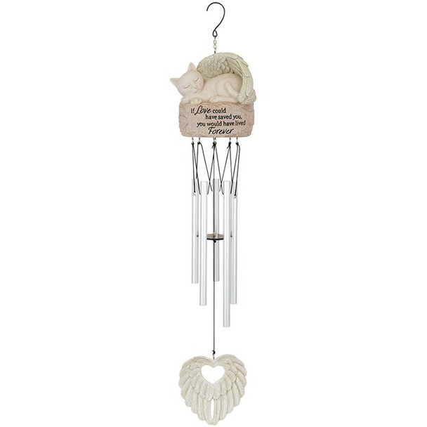 Cat Lives Forever Angel Garden Wind Chime
