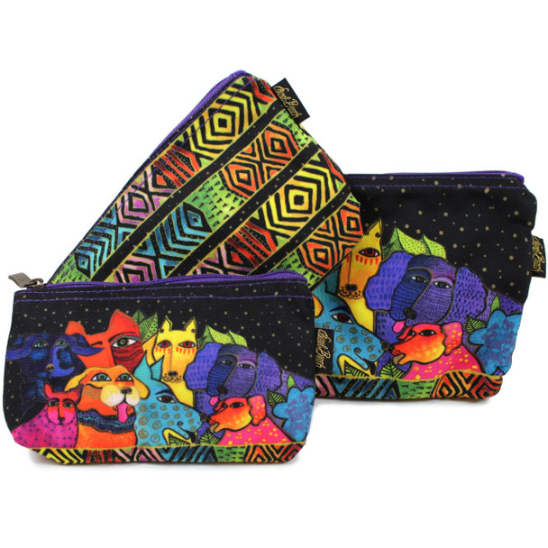 Laurel Burch Dog Canine Clan 3 BAG SET Cosmetic Bags LB6556