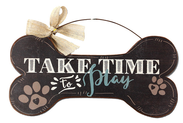 Take Time to Play - Wood Bone Shaped Wall Sign 16480A