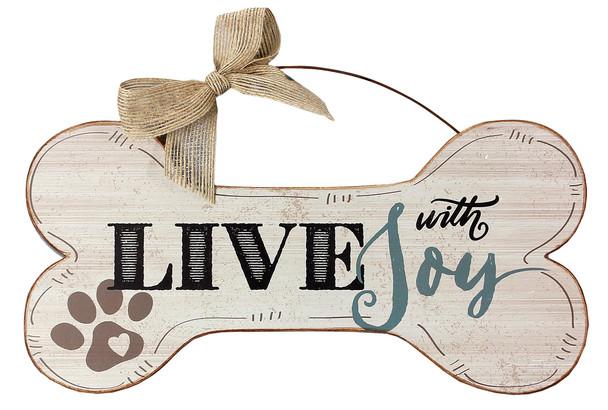 Live with Joy - Wood Bone Shaped Wall Sign 16480D