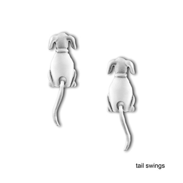 Dog Swinging Tail Earrings Pewter 1044/1EP