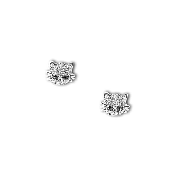 Cat Crystal Pewter Post Earrings 4089EC