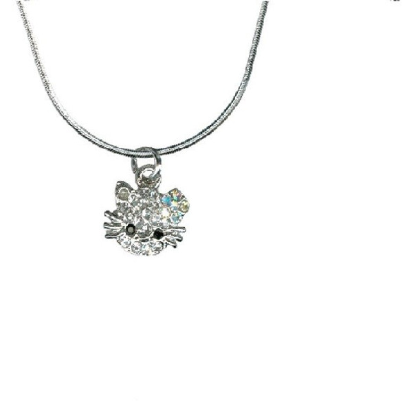 Cat Crystal Pewter Necklace 4089NS