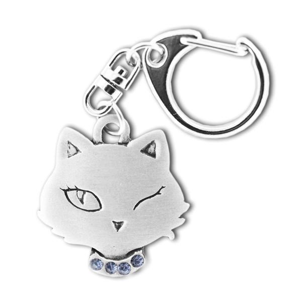 Cat Winking Head Pewter Key Chain 8665KP