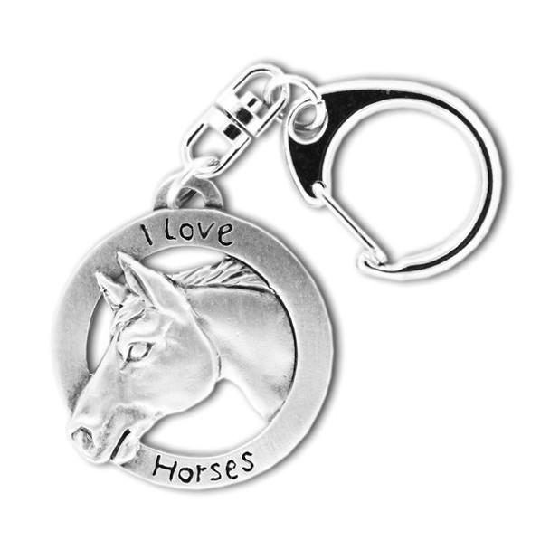 I Love Horses Pewter Key Chain 6054KP