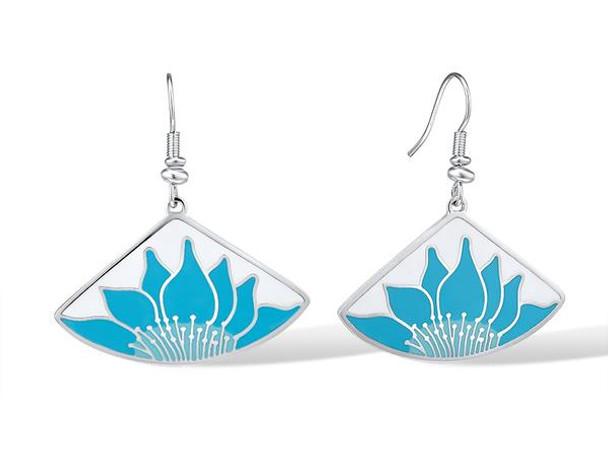 Lotus White Blue Laurel Burch Earrings -  5089W