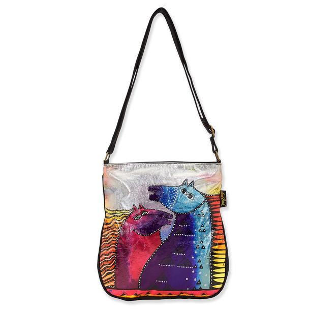 Laurel Burch Rainbow Mares Foiled Canvas Crossbody Tote – LB8071