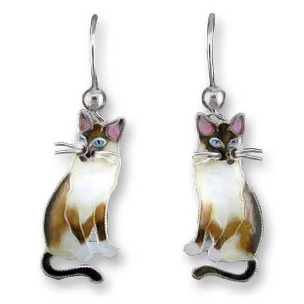 Snowshoe Siamese Cat Silver Drop Earrings 29-34-01