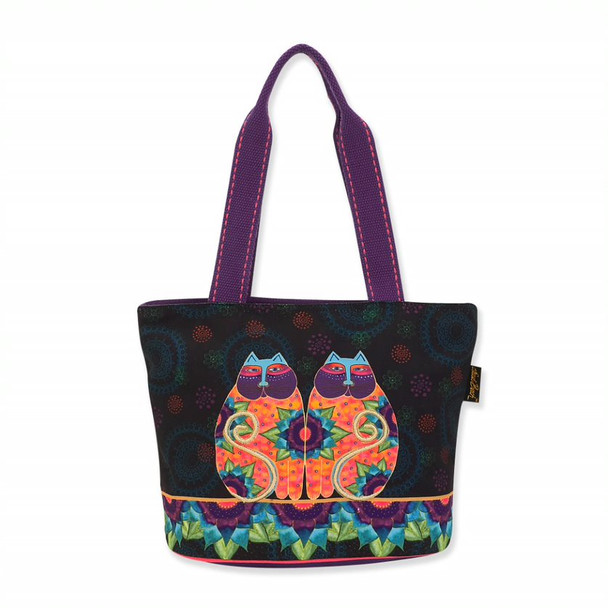 Laurel Burch Canvas Celestial Lotus Cats Medium Tote – LB8101