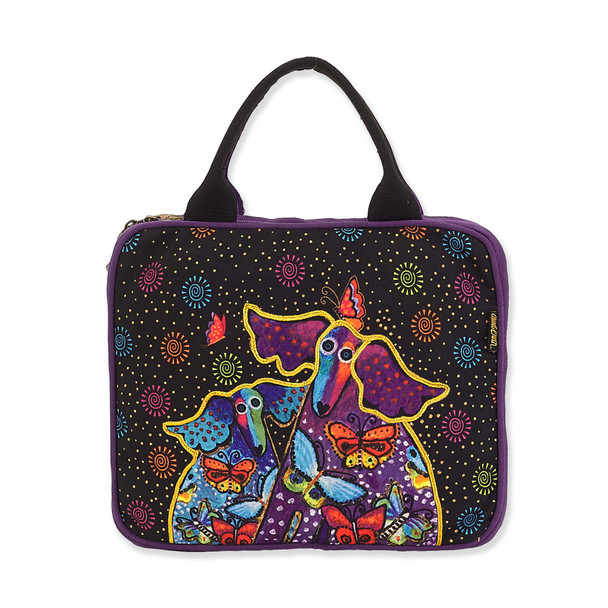 Laurel Burch Dogs and Papillons Canvas Cosmetic Bag – LB8172