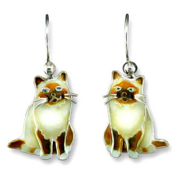 Birman Cat Silver Drop Earrings 29-39-01