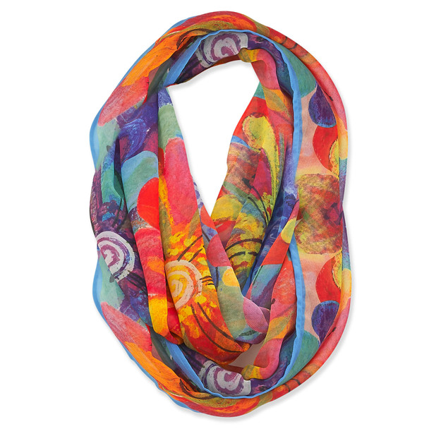 Laurel Burch Watercolor Flowers Floral Artistic Infinity Scarf - LBI226