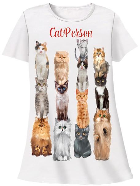 Cat Person Theme Sleep Shirt Pajamas 331T