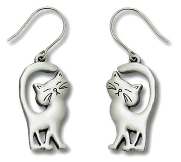 Cat with Tails Up Pewter Drop Earrings 3549EFP