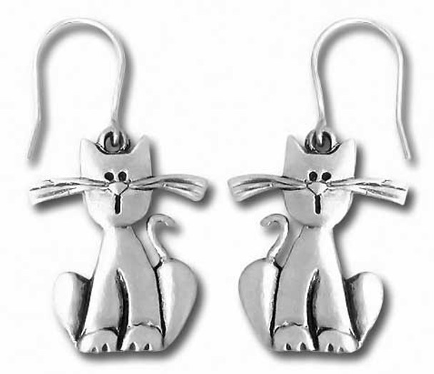 Cat with Long Whiskers Pewter Drop Earrings 3935EFP