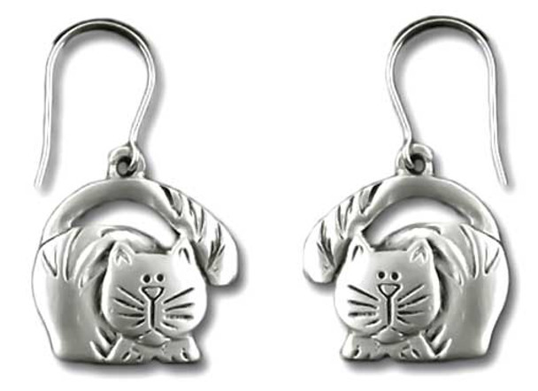 Cat with Tail Over Head Drop Earrings 3983EFP