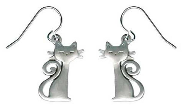 Cat with Curly Tail Drop Earrings 6016EFP