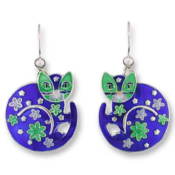 Round Cat Sterling Silver Drop Earrings 61-48-01