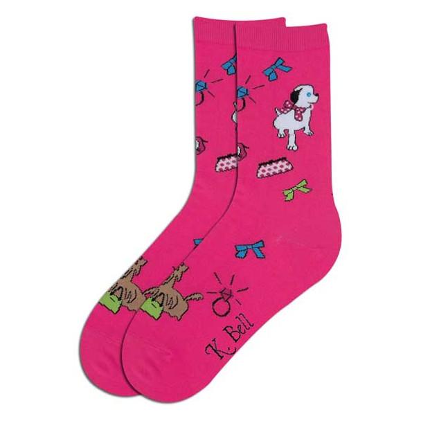 "Dog Socks ""Happy Dog"" Fuchsia 61597F"