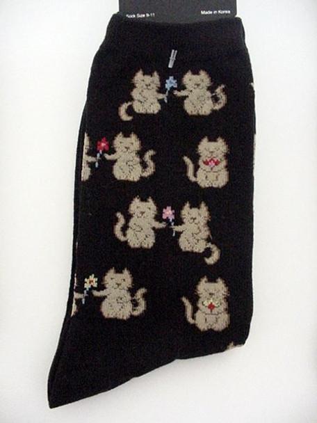 "Cat Socks ""Cats with Flowers"" - Black -  61607B"