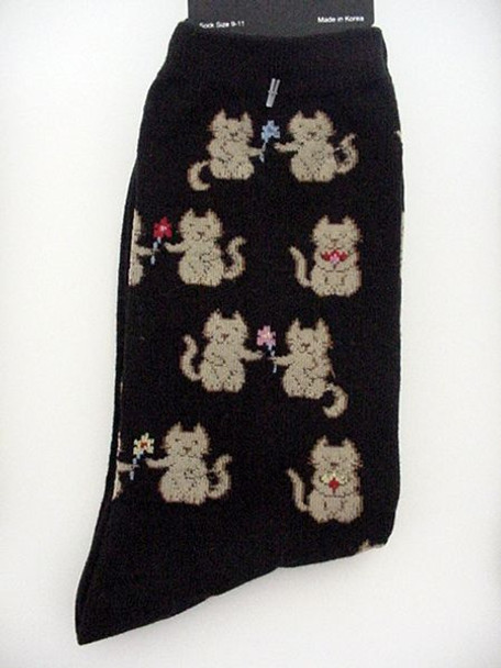 "Cat Socks ""Cats with Flowers"" - Black -  61607B"