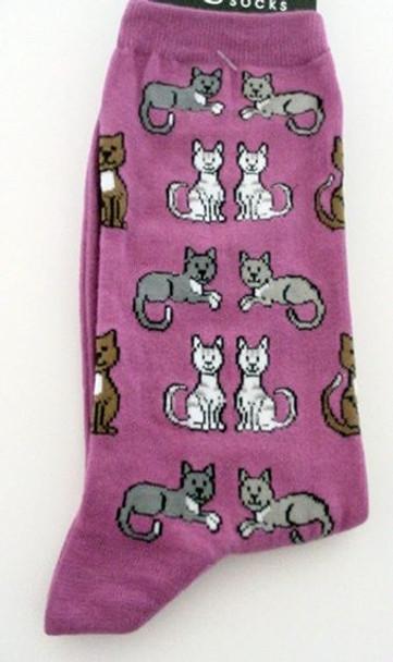"Cat Socks ""Sitting Kitties"" - Pink - 61619P"