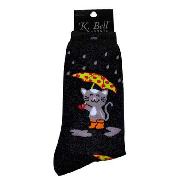 Rainy Day Cat Socks Black 61721B